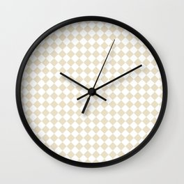 Small Diamonds - White and Pearl Brown Wall Clock