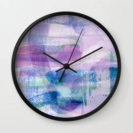 Afternoon by the Sea Abstract in Purple, Blue, Green, Pink Wall Clock