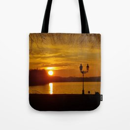 Sunset Dark Sea On A Silent Winter Day With Trees Tote Bag