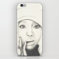 erykah badu iPhone & iPod Skins featuring Badu by Ruth Chapa