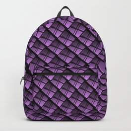 Interweaving square tile made of violet rhombuses with dark gaps. Backpack