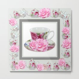 ABSTRACTEd PINK ROSE TEA TIME PORCELAIN ART Metal Print