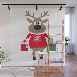 Merry Christmas Reindeer Wall Mural