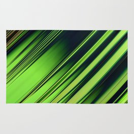 Diagonal Stripes of Green and Black Rug