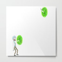 Rick middle finger space portal Metal Print