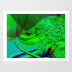 Abstract Green Algae Art Print