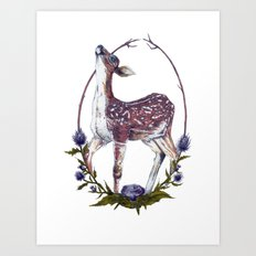 Fawn and Thistle Art Print