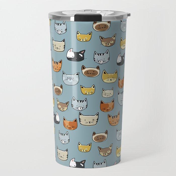 Cat Face Doodle Pattern Travel Mug
