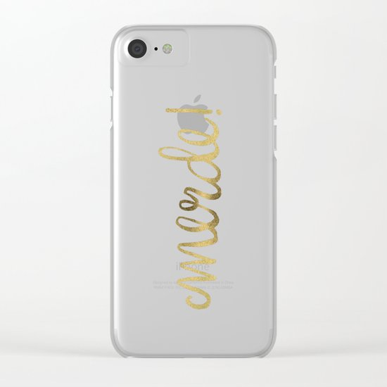 Pardon My French – Gold Ink Clear iPhone Case