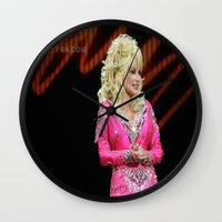 dolly parton Wall Clocks featuring Dolly Parton in Gothenburg 8/28/11 by Diana Falheim