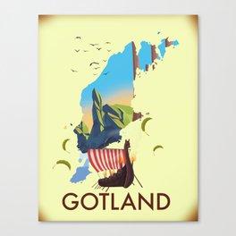 Gotland Viking map. Canvas Print