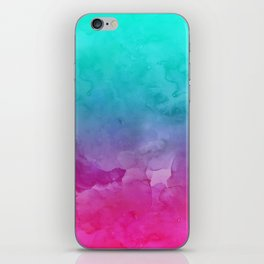 Modern bright summer turquoise pink watercolor ombre hand painted background iPhone Skin