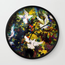 Flight of doves over the orange grove painting by Renato Guttuso Wall Clock
