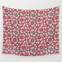 snowflake Wall Tapestries featuring Snowflake by Puddles of Ink