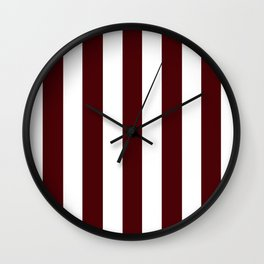 Dark chocolate purple - solid color - white vertical lines pattern Wall Clock