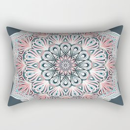 Expansion - boho mandala in soft salmon pink & blue Rectangular Pillow