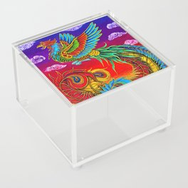 Colorful Fenghuang Chinese Phoenix Rainbow Bird Acrylic Box