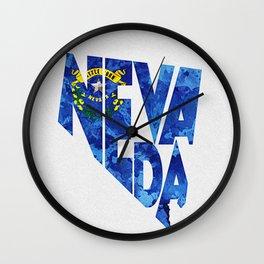 Nevada Typographic Flag Map Art Wall Clock