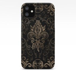 Fleur-de-lis ornament Black and Gold iPhone Case