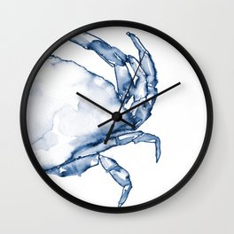 Coastal Crab in Watercolor, Navy Blue (Right Half in Set) Wall Clock