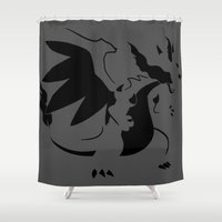 charizard Shower Curtains featuring Charizard Mega X by Ruo7in