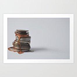 Melting Coins Art Print