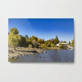 Beautiful Fall Colors Lining the Lake with a Boat Dock at Lake Cuyamaca, California Metal Print