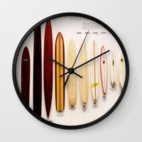 surfboard Wall Clocks featuring Surfboard Evolution by John Lyman Photos