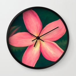 Pink Tropical Flower Wall Clock