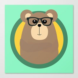 Nerd Brown Bear with cirlce Canvas Print