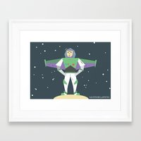 buzz lightyear Framed Art Prints featuring Buzz Lightyear Celebration Illustration by A Strange One