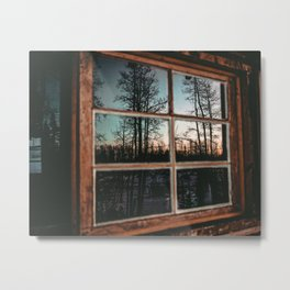 Lumberjack Cabin Window // Grainy Reflection of the Sunset and Trees Metal Print