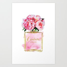 Perfume bottle with flowers, Peony, Peonies, Pink, gold, watercolor, Perfume, Pink, Gold ,Fashion Art Print