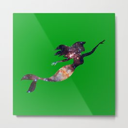 Galaxy Mermaid 4 (Green) Metal Print