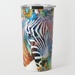 Colorful Zebra Face by Sharon Cummings Travel Mug
