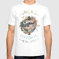 Let's Be Explorers  MEDIUM White Mens Fitted Tee
