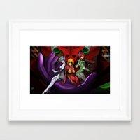 evangelion Framed Art Prints featuring Evangelion Girls by Esteban Barrientos