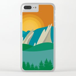 Boulder, Colorado - Skyline Illustration by Loose Petals Clear iPhone Case
