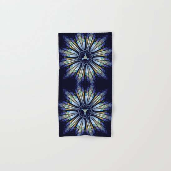 Retro design star in blue, gold, green and pink Hand & Bath Towel