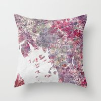 oslo Throw Pillows featuring Oslo Map by MapMapMaps.Watercolors