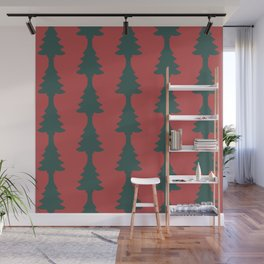 Red & Green Pine Tree Cut Out Wall Mural