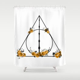 Deathly Hallows in Gold and Gray Shower Curtain