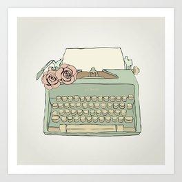 Retro typewriter Art Print
