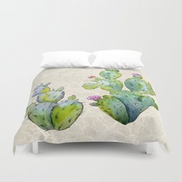 Water Color Prickly Pear Cactus Adobe Background Duvet Cover