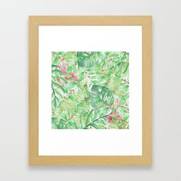 Hand painted watercolor green pink tropical leaves floral Framed Art Print