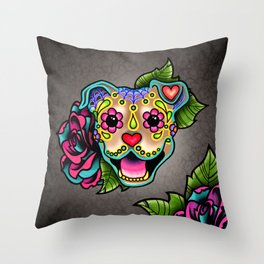 Smiling Pit Bull in Fawn - Day of the Dead Pitbull Sugar Skull Throw Pillow