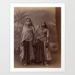 Two Hindu Women - Vintage Indian Photography  Art Print