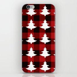 Red Buffalo Plaid Trees iPhone Skin
