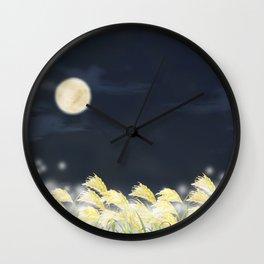 Landscape of Japanese pampas grass field Wall Clock