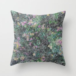Cement Grass & Flowers / Vivid Throw Pillow